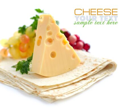 bakery products: Piece of cheese with greenery on a pita Stock Photo