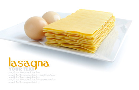 uncooked: Uncooked lasagna pasta Stock Photo