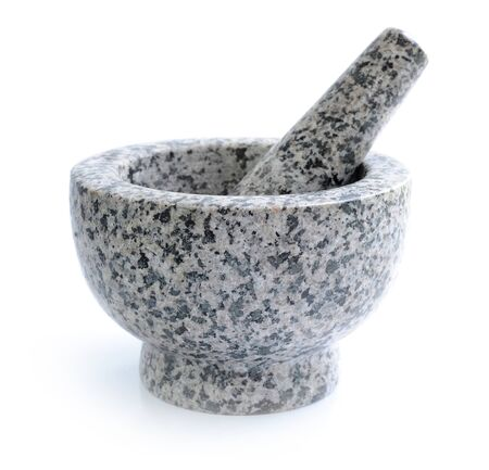 morter: Stone mortar and pestle on white background