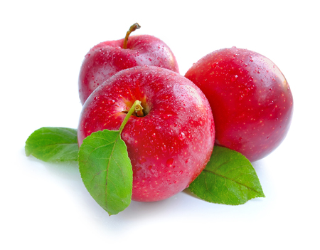 wet leaf: Ripe red apples on a white background Stock Photo
