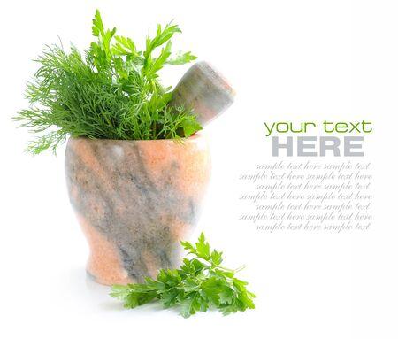 herbolaria: mortero de piedra con una zona verde de perejil y eneldo sobre fondo blanco Foto de archivo