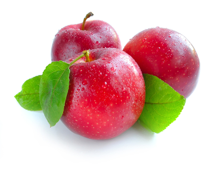 Ripe red apples on a white background Stock Photo