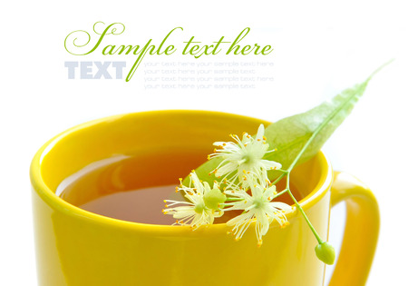 linden tree: Flowers of linden tree on a cup with tea