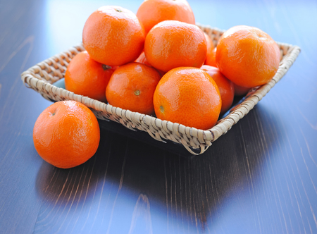 wattled: Fresh tangerines in the wattled dish