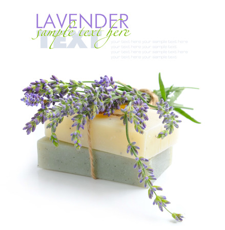 Handmade soap and lavender flowers on a white background Zdjęcie Seryjne - 54589073