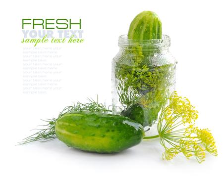 preserves: Preparing preserves of pickled cucumbers in jar with herbs