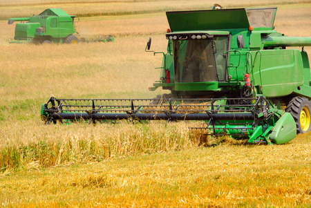 harvester: Combine harvester working on the field Stock Photo