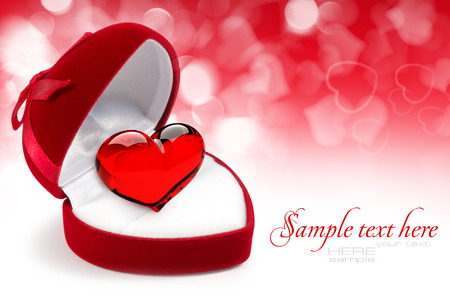 openly: Red velvet Heart-shaped Gift Box with heart on a festive background