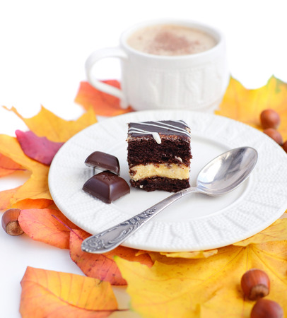 Piece of cake on a plate, chocolate, autumn leaves, nuts and a cup of coffee
