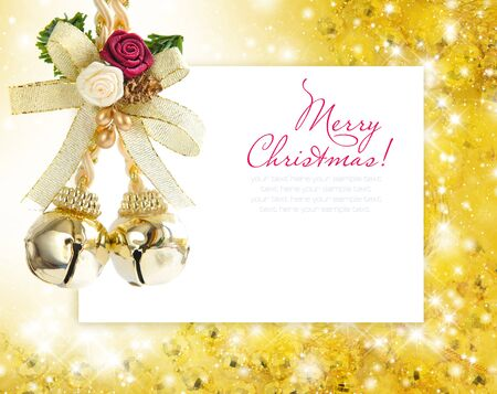 Christmas decoration on a festive background a postal with sample text