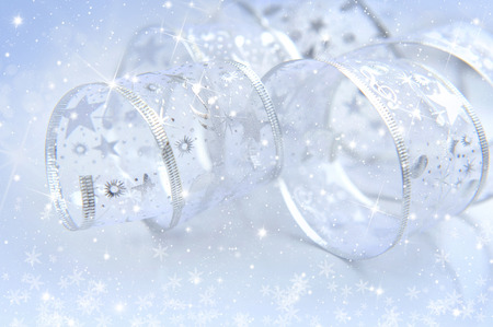 silver ribbon: Festive background with christmas silver ribbon