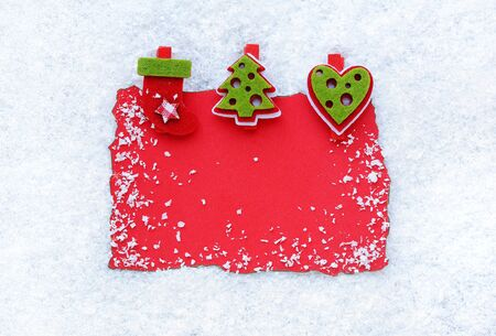 Greeting card on snow background. Christmas background with space for your text.