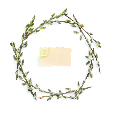 osier: Pussy-willow branches circle frame. Decorative wreath on white background perfect for easter card or invitation.