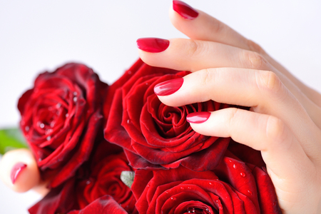 Hands of a woman with red manicure with a bouquet of red roses. Close up Banque d'images