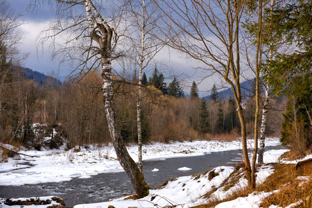 Beautiful winter landscape with a mountain river