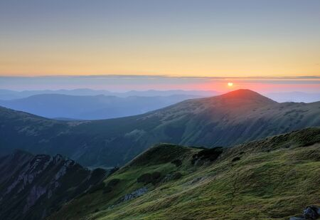 Majestic sunrise in the mountains landscape. Carpathian, Ukraine, Europe. Stock Photo