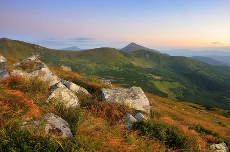 Amazing mountain landscape in morning light. Carpathian, Ukraine, Europe