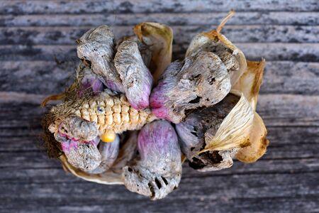 Corn smut (Ustilago zeae Unger). Ustilago maydis disease on corn cob Stock fotó