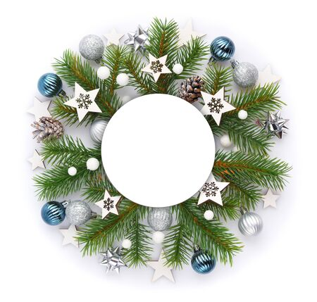 Christmas or new year composition. Round frame, christmas decorations and spruce branches on white background. Holiday and celebration concept for postcard or invitation. Top view Stockfoto