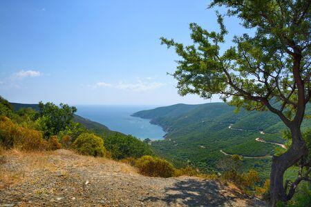 Beautiful calm sea lagoon among hills at sunny day Zdjęcie Seryjne