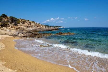 Beautiful seascape with beach, rocks and clear transparent water. Sithonia, Halkidiki, Greece. Zdjęcie Seryjne