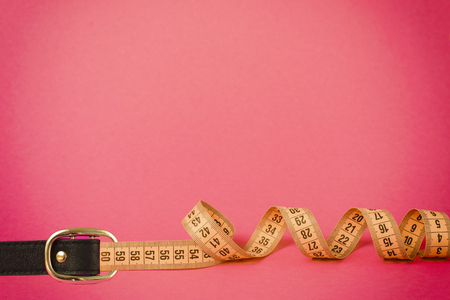 Tape measure buckle belt for weight loss waist girth measurement.