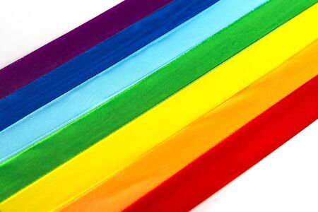 LGBT satin ribbon flag icon on white background.