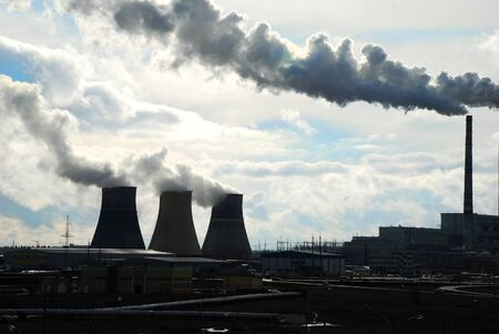 smoke from cooling towers of thermal power plants