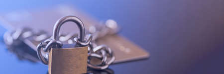 Credit card security, safe trading. Credit card lock chain.