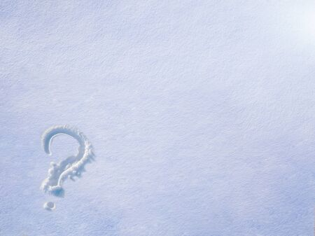question mark painted on the snow, thaw, frost, background