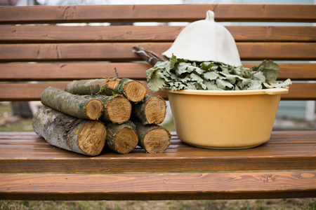 Russian bath, broom, basin and other accessories Stock Photo