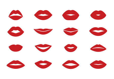 Woman s lips. Cartoon flat kiss shape icons, isolated lipstick sensual silhouette set. Vector beauty cosmetic concept