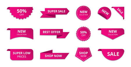 Ribbon sale banner. Special offer sale badge design, modern discount advertising template. Vector set 向量圖像