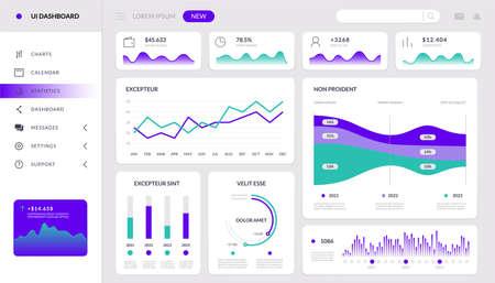 Chart infographic. Finance dashboard interactive mockup, HUD tech website template, admin data app. Vector application screen