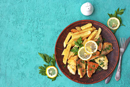 Fried perch fillet with fries on a brown clay plate. Top view, copy space