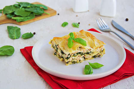 Lasagna with salmon and spinach on a clay plate on a light concrete background. Italian food. Pasta recipes
