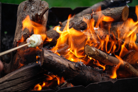 Grilling marshmallows on fire