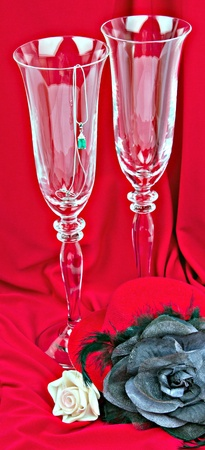 Two glasses on red background photo
