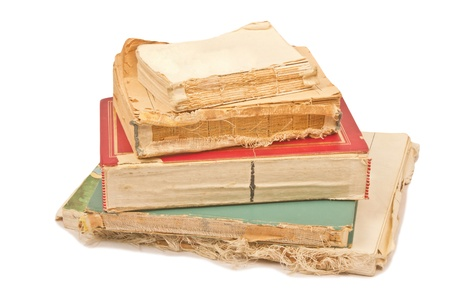 five old books on white background Stock Photo - 12182694