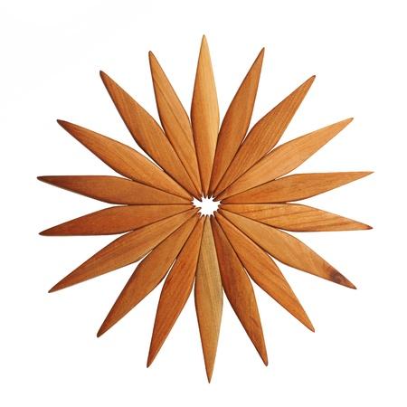 trivet: Wooden trivet on a white background