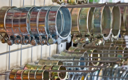 Metal hose clips  Clamp rings   Stock Photo