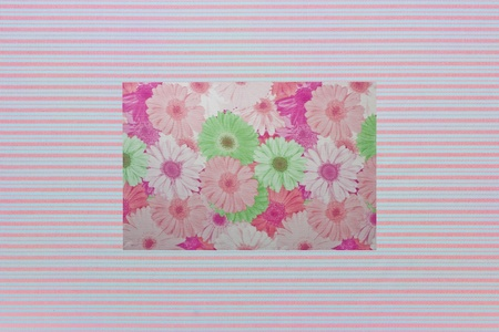 Shabby textile Background with colorful pink and white stripes and flowers photo