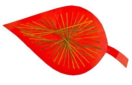 trabajo manual: trabajo manual: Hoja de papel rojo con hilos