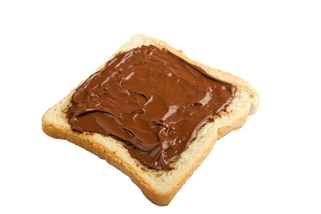 Bread with chocolate cream isolated on white photo