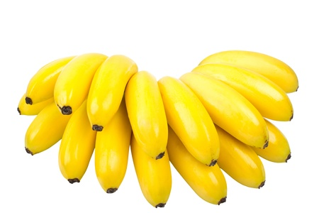 the bunch of small bananas isolated on white background