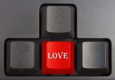 typer: black keyboard close up, computer keys on keyboard, love
