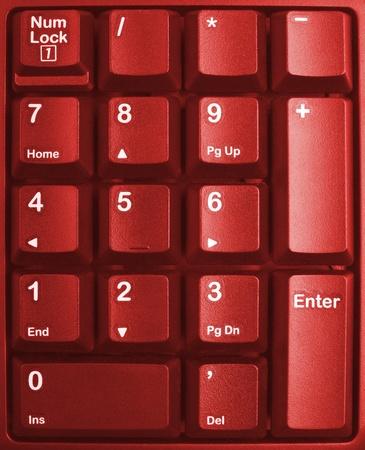 typer: red keyboard close up, computer keys on keyboard