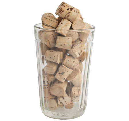 pattern of the corks in the glass isolated on white background  Stock Photo