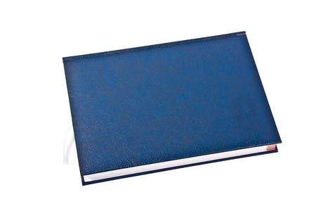 blue note book isolated on withe background photo