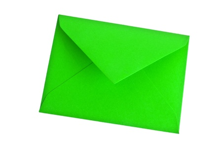 stay in the green: green envelope on white background